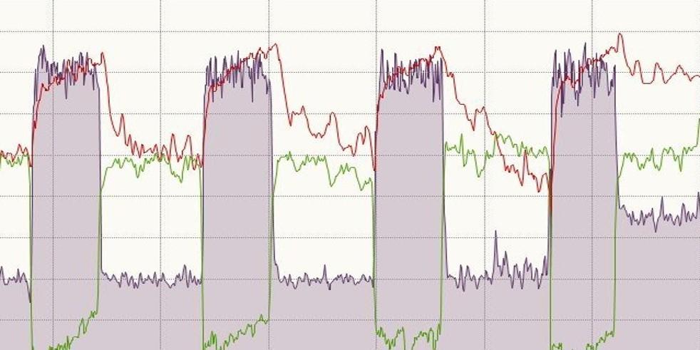 Bild 1: Intervalltraining (Rot HF, Lila Watt, Grün TF)